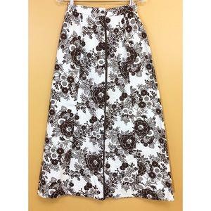 Vintage 70's Brown & Cream Retro Flower Skirt 12